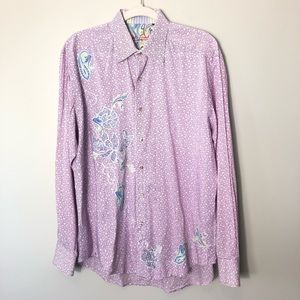 Robert Graham Pink White Floral Embroidered Shirt